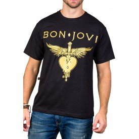 Camiseta Bon Jovi c/ Estampa Dourada 2723 M Preto 2