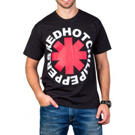 Camiseta Red Hot Chili Peppers Logo Redondo Preta