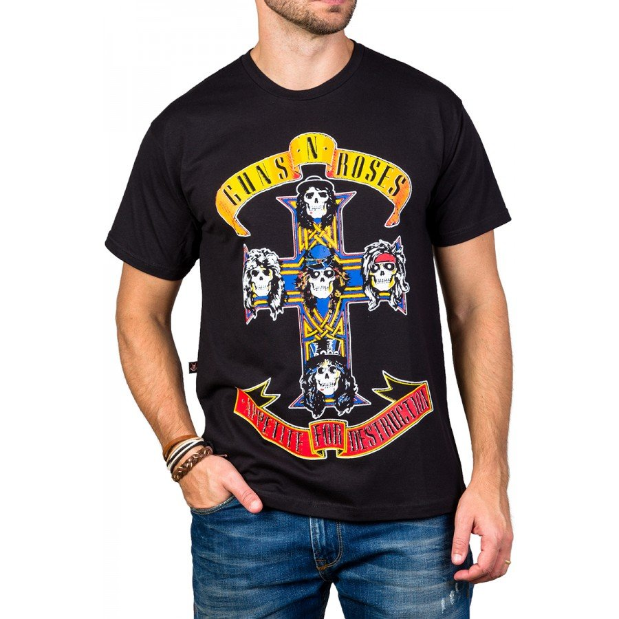 Camiseta Guns n' Roses Appetite For Destruction Manga Curta 1