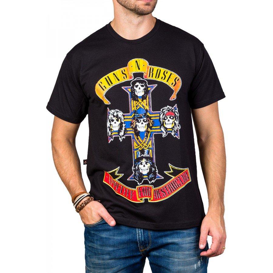 Camiseta Guns n' Roses Appetite For Destruction Manga Curta 1