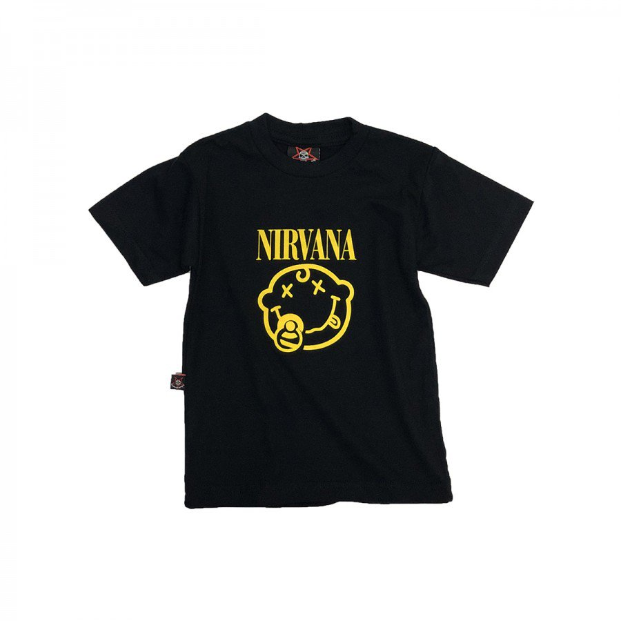 camiseta bebe nirvana smile chupeta preta bb016