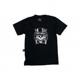 camiseta bebe guns n roses logo caveira reforco de ombro a ombro bb014