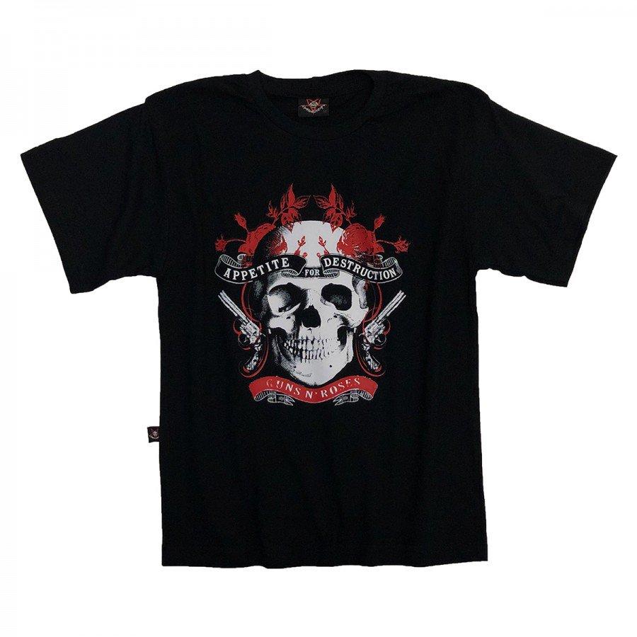 camiseta infantil guns n roses caveira armas manga curta 854