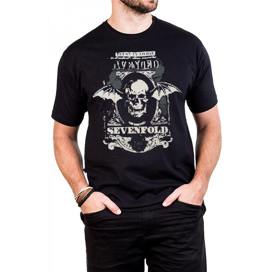 camiseta avenged sevenfold trust no one masculino 432 1