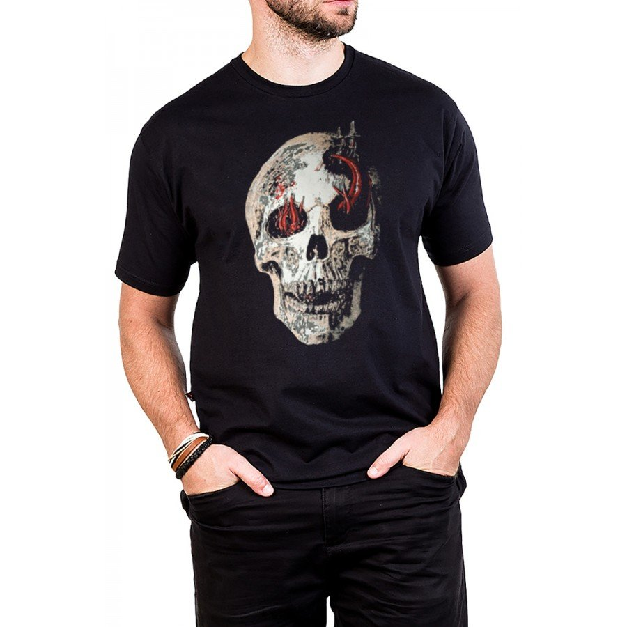 camiseta caveira serpente com estampa 333 3
