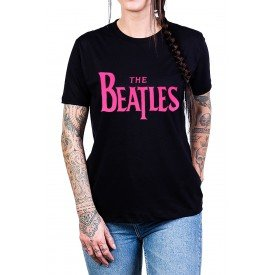 camiseta the beatles escrita rosa 338 2