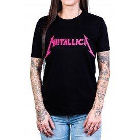 camiseta metallica escrita classica rosa 438 1