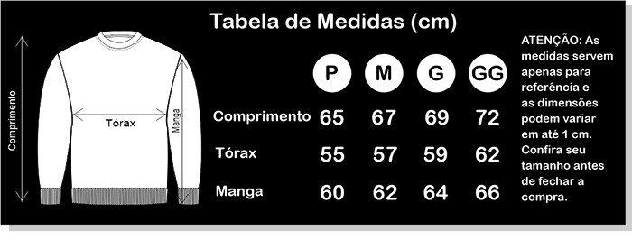 tabela de medidas oficial moletom
