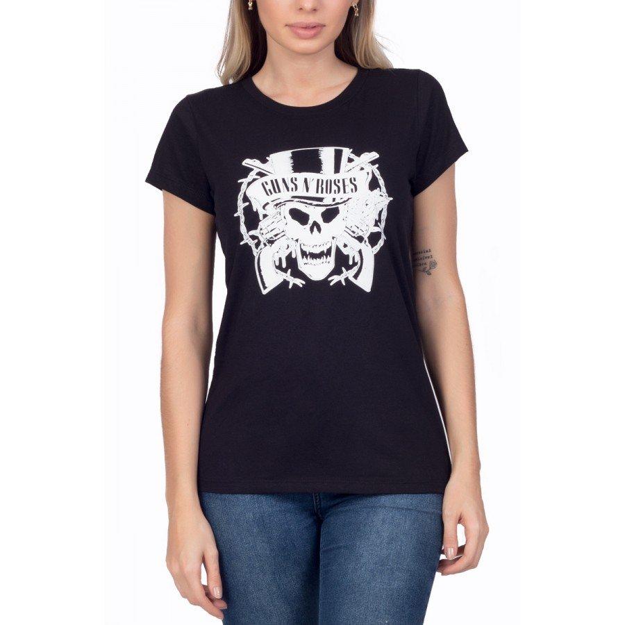 t shirt feminina guns n roses logo caveira 3