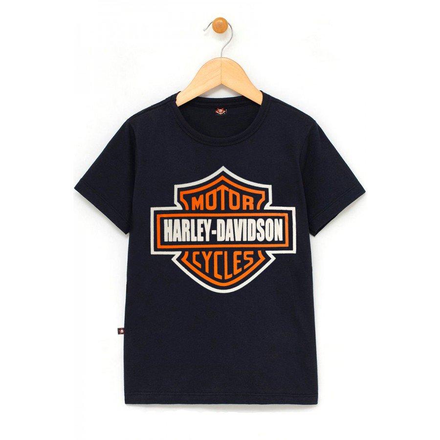 in594 u pr camiseta infantil harley davidson logo 100 algodao