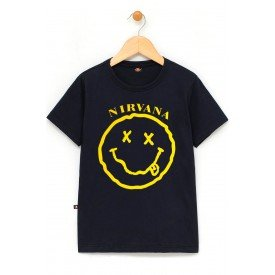 in620 u pr camiseta infantil nirvana smiley gola c elastano