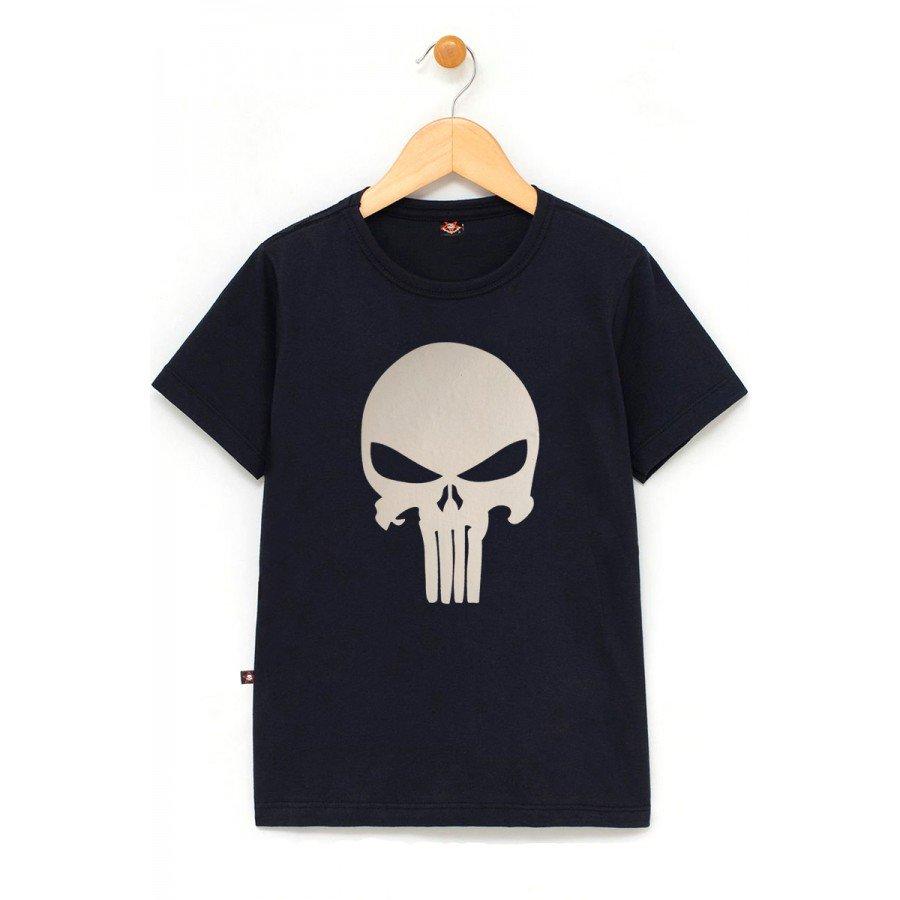 in654 u pr camiseta infantil justiceiro logo branco preta