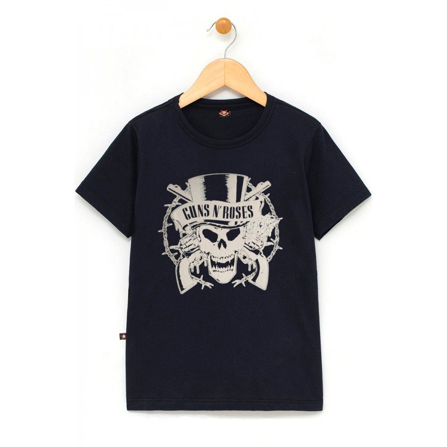 in663 u pr camiseta infantil guns n roses logo caveira 100 algodao